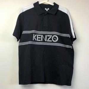 $395 Kenzo Black Cotton Men's Polo Shirt M